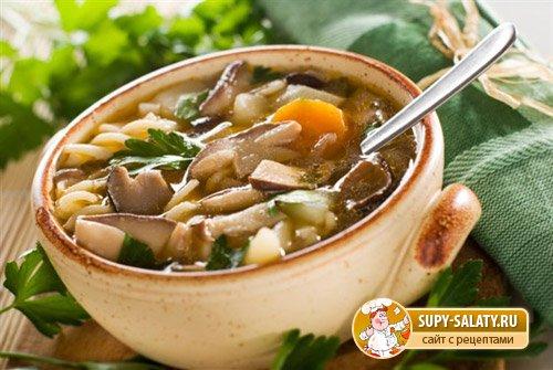 Грибной суп из вареных