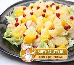 Салат ананас с курицей рецепт с и грибами