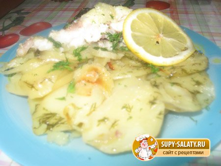 Рецепты с фото. Пеленгас в духовке с картофелем