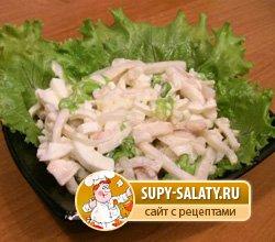 нежный салат из кальмаров рецепт с фото