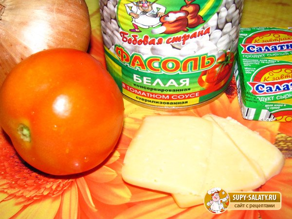 Томатно-фасолевый суп с сыром