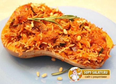 Фаршированная тыква с овощами и курицей , пошаговый рецепт с фото