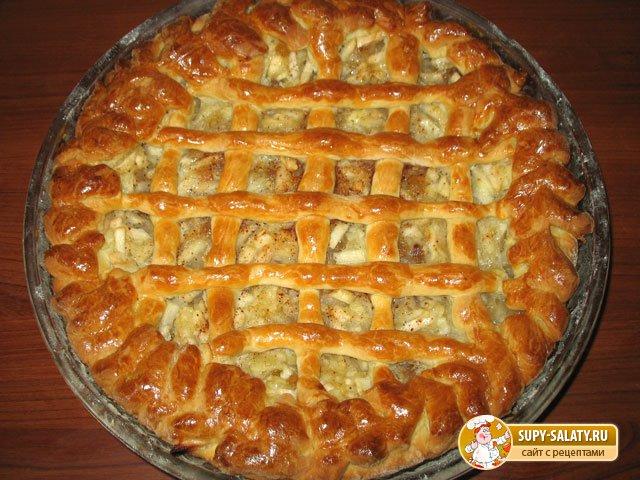 Дрожжевой пирог с яблочной начинкой