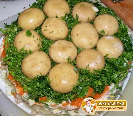 Салат с картошкой и грибами