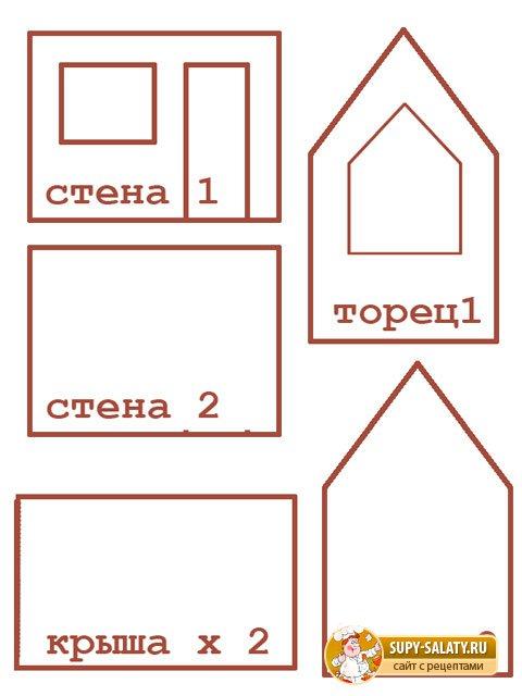 Заготовки для пряничного домика своими руками
