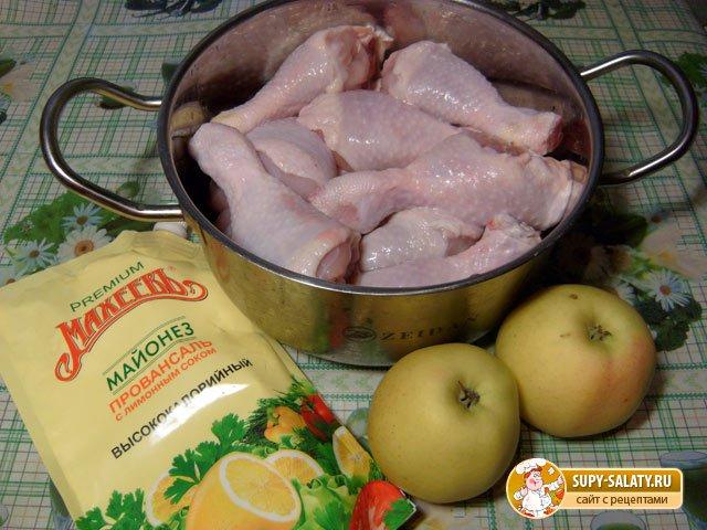 Куриные ножки с яблоками. Рецепт с фото