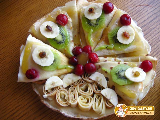 Блины с фруктами. Рецепт с пошаговыми фото