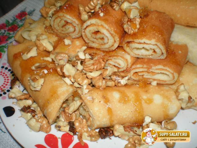 Масленица. Блины с медом и орехами. Рецепт с фото