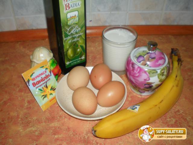 Быстрые блинчики с бананом. Рецепт с фото