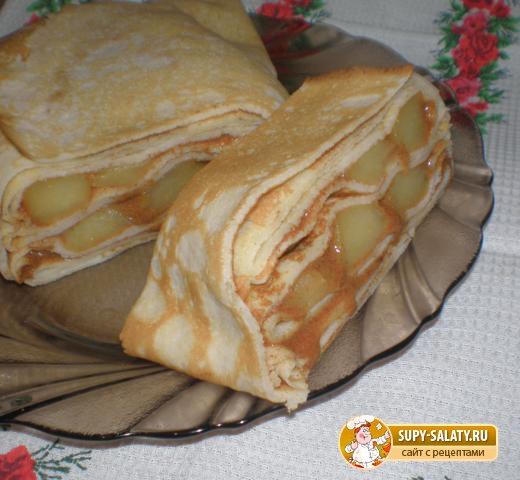 Блинный пирог с яблочной начинкой. Рецепт с фото