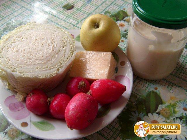 продукты для салата из пекинской капусты с редисом и сыром