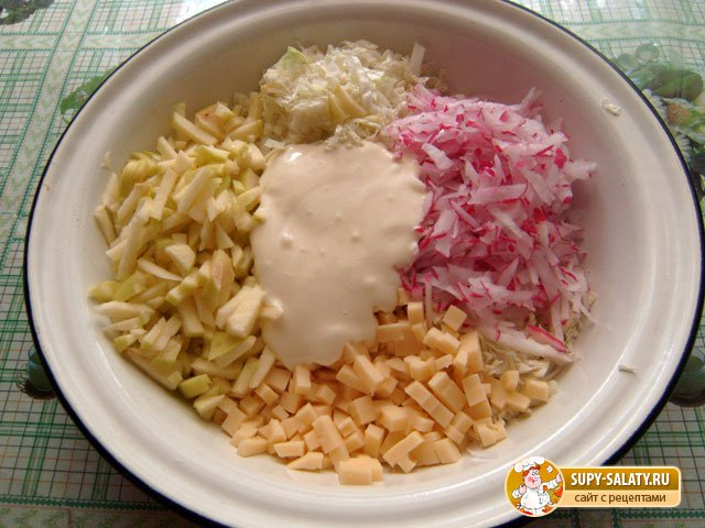 порезанные ингредиенты салата в миске