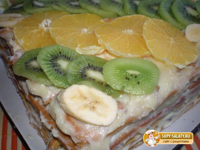 Торт из заварного теста с фруктами.Рецепт с пошаговым фото