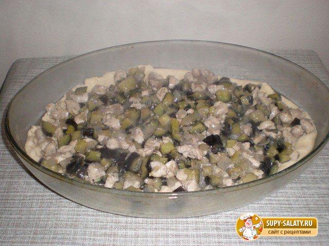Баклажановый пирог с курицей. Рецепт с фото