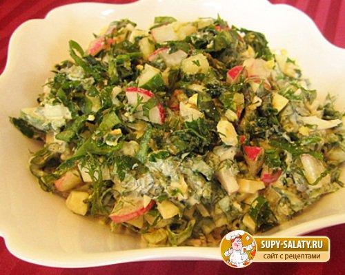 Салат из листьев одуванчика. Рецепт