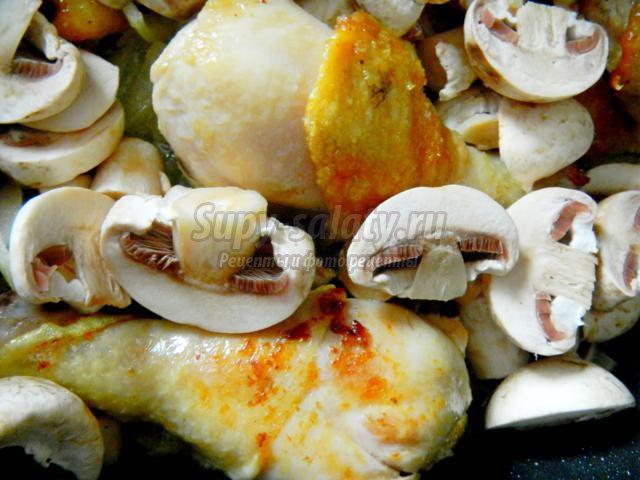 Куриные ножки с грибами. Рецепт с фото