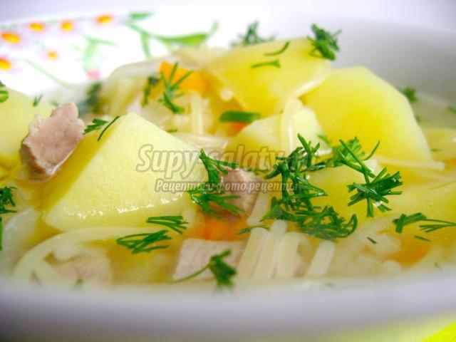 Картофельный суп с лапшой. Рецепт с фото