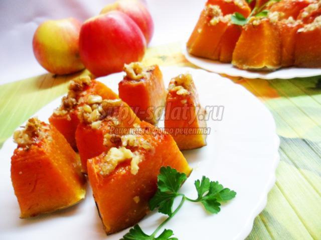 Тыква, запеченная с медом, корицей и грецкими орехами