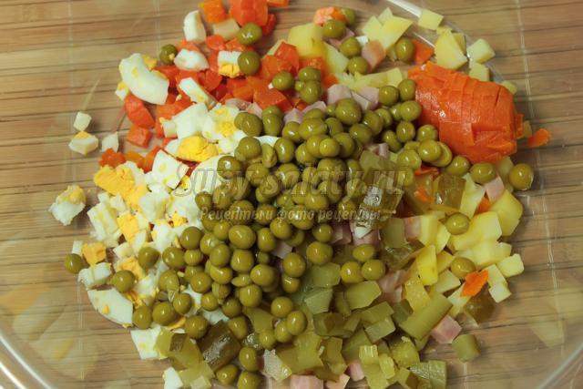 Салат оливье с ветчиной