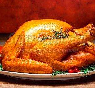 Фаршированная рождественская индейка, пошаговый рецепт с фото