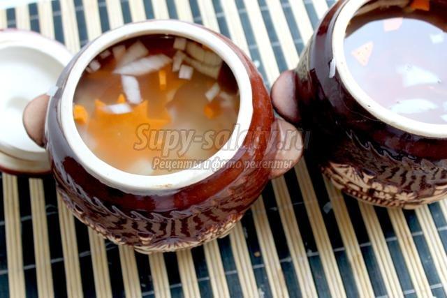 Суп в горшочке из телятины, риса и картофеля