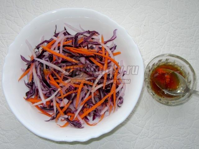 легкий салат из дайкона, капусты, киви. Фантазия