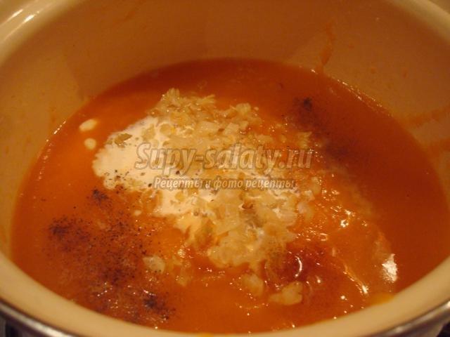тыквенный суп с креветками и гренками