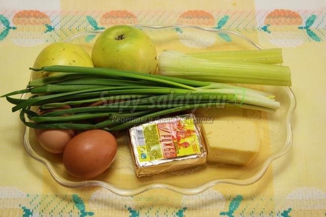 рецепт салата с сыром и зеленым луком