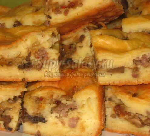 Быстрый пирог на кефире с мясом рецепты