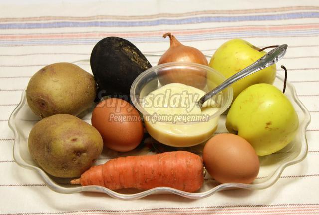 салат из картофеля, моркови и яблока. Гвардейский