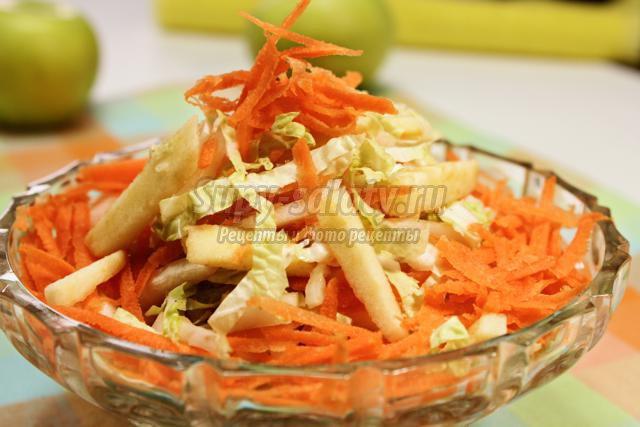 салат из пекинской капусты с морковью и яблоками
