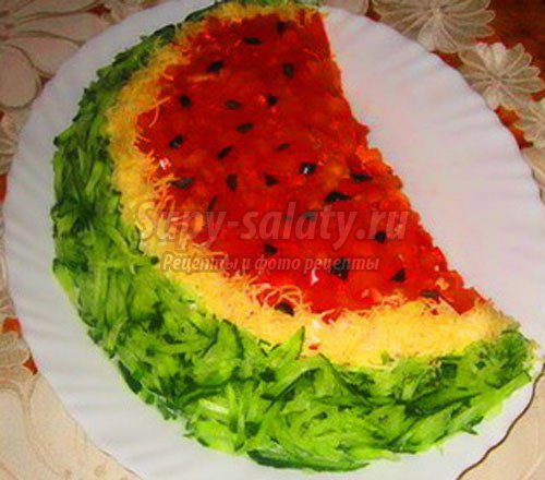 оригинальный салат арбузная долька