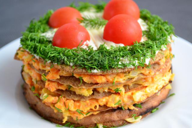 Печеночный торт с морковной начинкой. Рецепт с пошаговыми фото