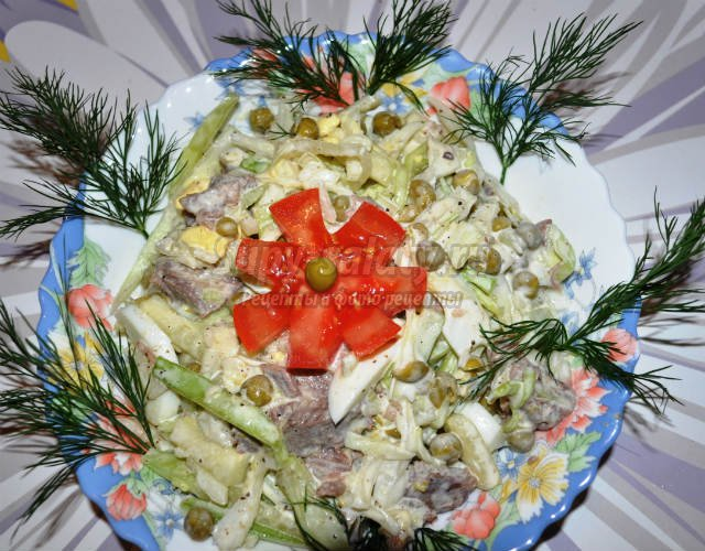 Теплый салат из сердца