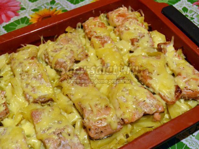 Горбуша, запеченная в духовке с картофелем.