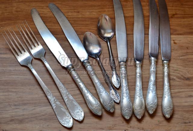 как почистить столовые приборы - вилки, ложки, ножи