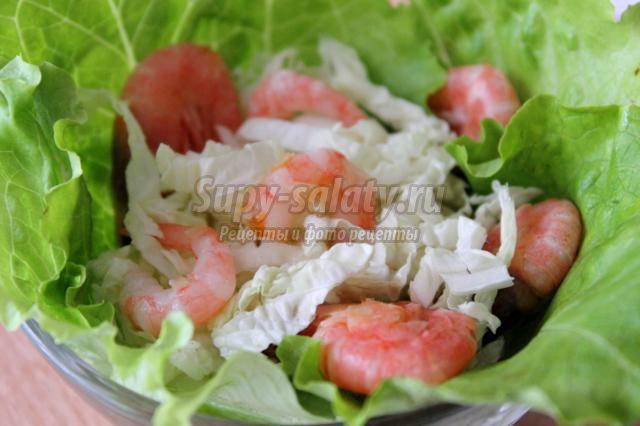 Салат из пекинской капусты и креветок рецепты простые