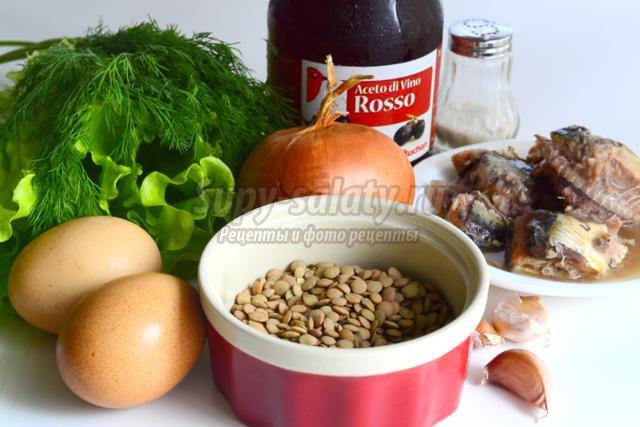 салат из чечевицы и рыбных консервов. Викинг