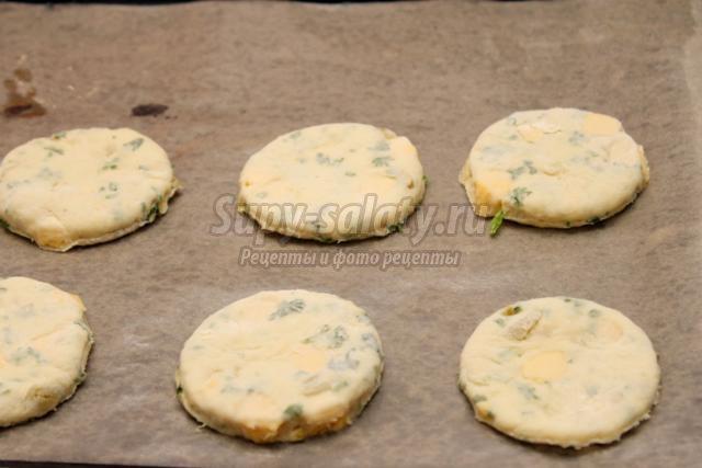 сконы с зеленью, сыром и оливками