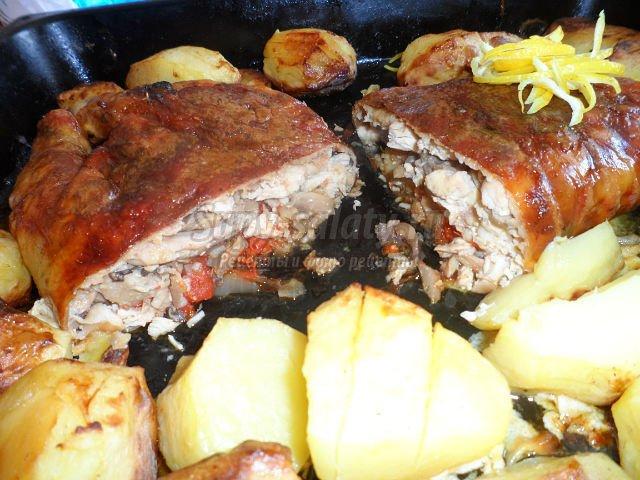 Рецепты фаршированной курицы овощами в духовке