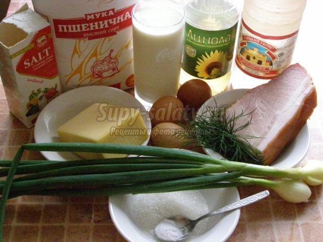Блинчики с ветчиной, сыром, яйцом и луком Дуэтraquo