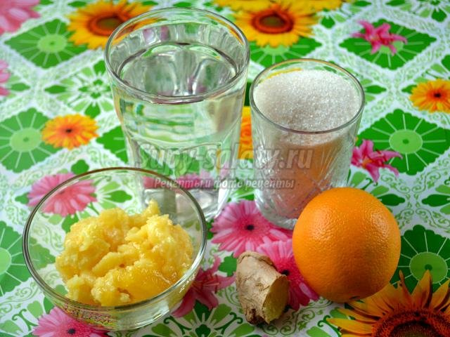 сироп из имбиря, апельсин и меда