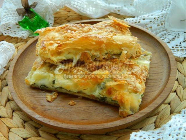 сырный пирог из слоеного теста с Моцареллой