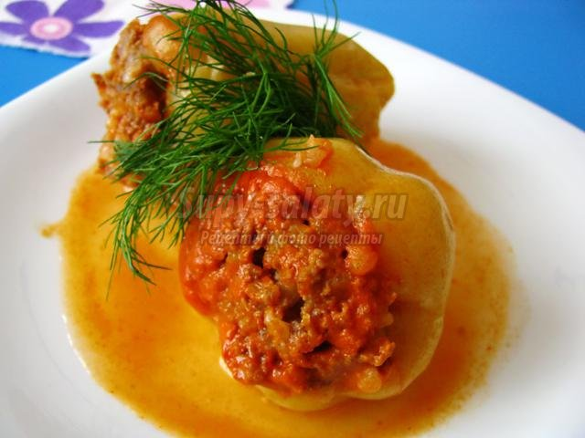 фаршированный перец в томатно-сметанном соусе