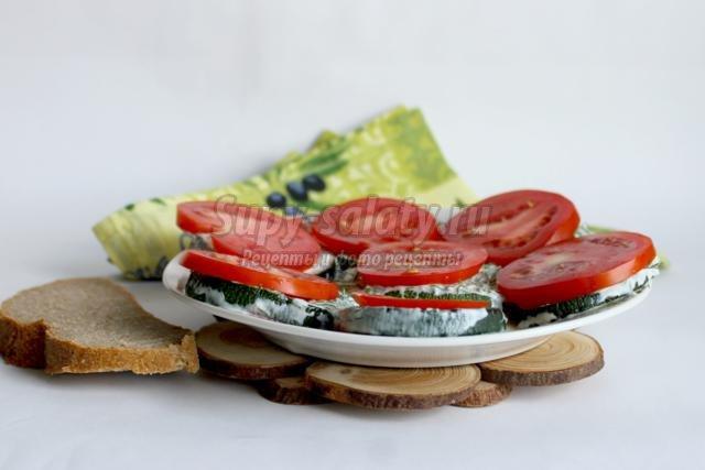 легкая закуска из кабачков с помидорами