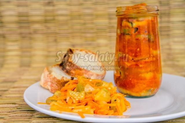 салат на зиму с баклажанами, морковью и луком
