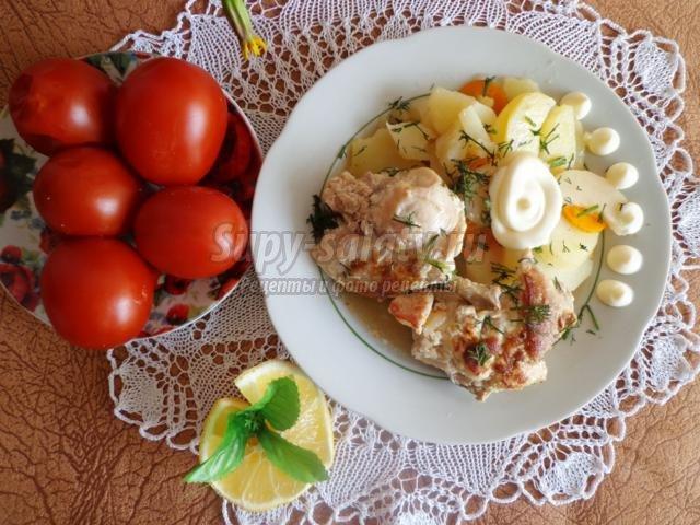 кролик, маринованный с овощами