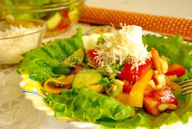 салат с тыквой, кедровыми орешками и сыром