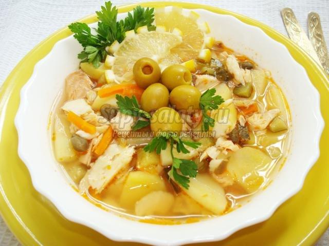 суп солянка по домашнему с колбасой рецепт