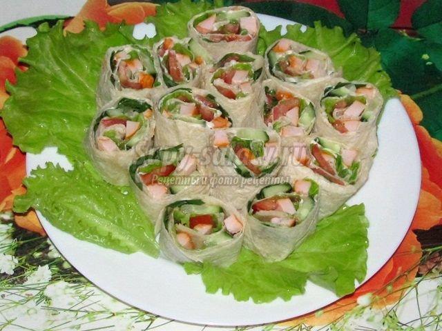 Вкусные роллы из лаваша